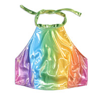 Shiny Rainbow Halter Top