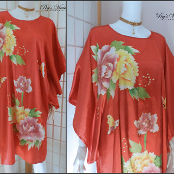 Vintage Red Satin Oversized Asian Kimono Dress / Shirt, Chinese Floral Design, Size L Clothing, 1980s Kaftan Top