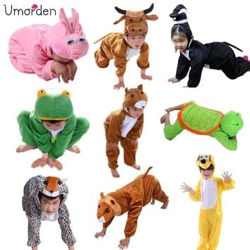 Cartoon Children Kids Animals Costumes Cosplay Clothing Jumpsuit Lion Mouse Leopard Cat Halloween Animal Costume for Boy Girl