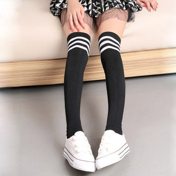 Women's Sexy Warm Over Knee tights stockings medias thigh High for women Striped Stockings compression stockings