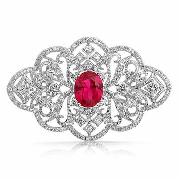 Vintage Style Filigree Red CZ Oval Brooch Pin Red Silver Plated