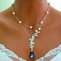 BERMUDA BLUE PEACOCK ORCHID Double Strand Necklace Wedding Brida - Wedding Jewelry | Bridesmaid