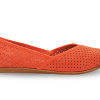 TOMS Fiesta Suede Perforated Women's Jutti Flats Red