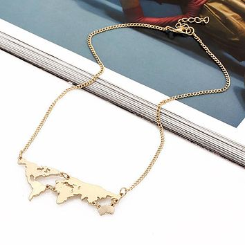 Unique Long World Map Necklace