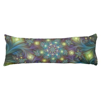 Illuminated modern blue purple Fractal Pattern Body Pillow