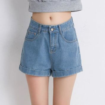2017 new fashion blue hot shorts Summer Womensa line cuffs New Trendy High Waisted Rise Distressed Ripped Jeans Denim Shorts