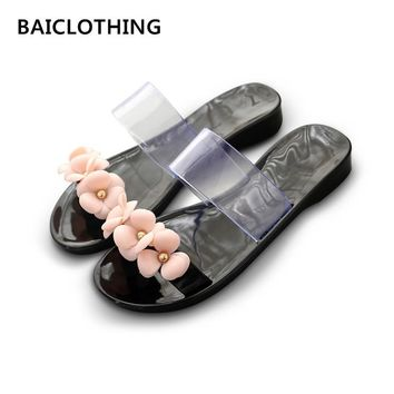 BAICLOTHING women cute transparent crystal jelly sandals shoes lady cool pink beach flip flops female flower casual slippers