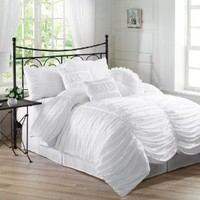 Chezmoi Collection 7-Piece Chic Ruched Comforter Set, California King, White