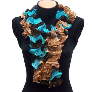 Hand knitted Turqouise Brown Camel ruffled scarf by Arzus on Etsy