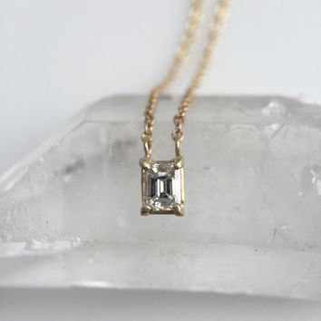 Solid 14 karat Gold Emerald Cut Diamond Solitaire Portrait Necklace