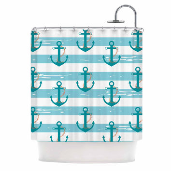 "afe images ""Nautical Anchor Pattern"" Teal Blue Illustration Shower Curtain"