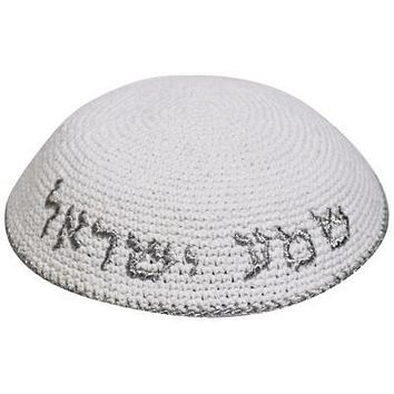 "C KNITTED KIPPAH, SLV EMBROIDERY ""SHMA ISRAEL"" 16CM"