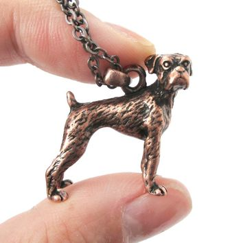 Realistic Boxer Dog Shaped Animal Pendant Necklace in Copper | Jewelry for Dog Lovers