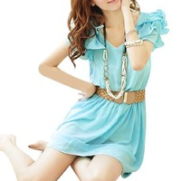Allegra K Women Ruffle Sleeve Elastic Waist Beaded Chiffon Mini Dress