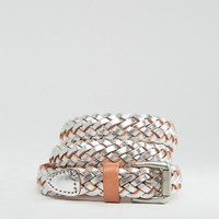 Pieces Lille Metallic Leather Belt at asos.com