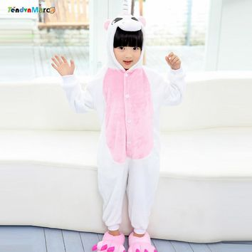 Christmas Costumes Girl Children kigurumi infantil Kids Animal Flannel Cartoon Pajamas Sleepwear Cosplay Onesuit Unicorn Stitch