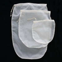 Oval 3 Size Reusable Milk Tea Fruit Juice Fine Nylon Mesh Strain Flter Bag VB461 P18 0.45
