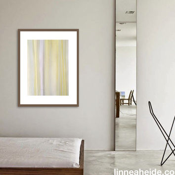 Large Watercolor Painting - original abstract fine art - abstract expressionism - muted striped - yellow grey