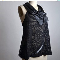 SUMMER SALE Black Leather Halter Top - Up-cycled Black Tank - Black Summer Tank - Summer Tank Top - Black Top - Rocker Tank