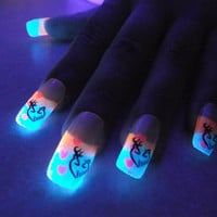 BioLumiNails - Blue/Pink Deer in Love -unique, glow in the dark, full cover, fake nails, gift for teens, stocking stuffer