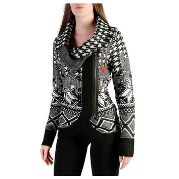 Desigual- Zip Up Cowl Neck Fitted Sweater