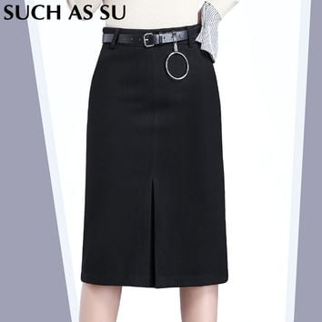 Women's Clothing Mid-Long Skirt 2016 New High Waist Wool Pencil Skirt Gray Black Brown Patchwork Ladies Slim Winter Wrap Skirt