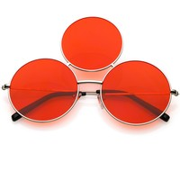 Novelty Oversize Round Triple Circle Color Tone Sunglasses C715