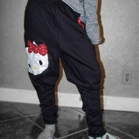 No Credit Cards Hello Kitty BIG FACE Drop Crotch Harem Sweatpants by TinyMiney NEW Size Small Medium & Large