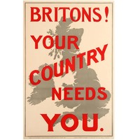 "Original 1914 World War One Propaganda Poster ""Britons! Your Country Needs You"""