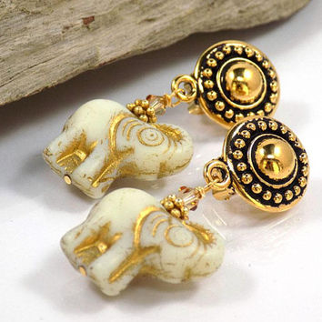 Clip on Earrings Dangle Earrings Gift for Her Gold Earrings Gift for Women Elephant Earrings Handmade Jewelry Birthday Gift Boho Earrings