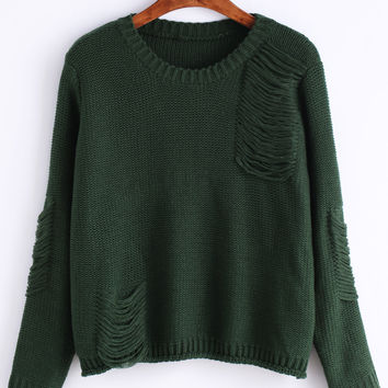Green Long Sleeve Ripped Sweater