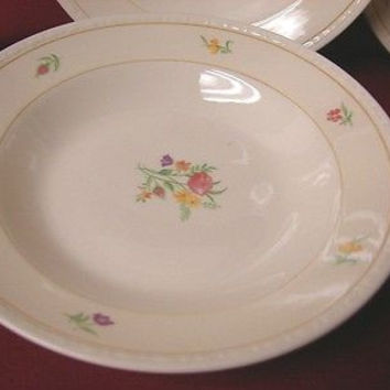 Vintage Homer Laughlin China Dinnerware Eggshell Georgian, Chintz set 2 Soup