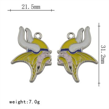 High Quality Alloy Enamel Football Team Minnesota Vikings Charms For DIY Bracelet & Necklace & Earrings & Pendant Jewelry 5pairs