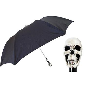Pasotti Black Skull Folding Umbrella