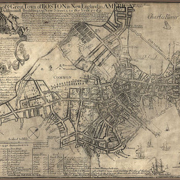 Antique Map of Boston (1769) by William Price - Archival Reproduction
