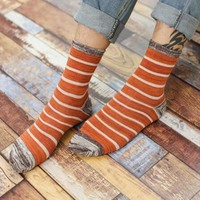 A Pair Cotton Men's Stripe Socks Japanese Vintage Causal Fashion Calcetines Character Striped Classical Socks For Men