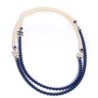 CHANEL Pearl CC Long Necklace Pearly White Blue NEW