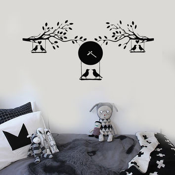 Vinyl Wall Decal Branches Birds Clock Leaves Kids Room Stickers Murals Unique Gift (ig4804)