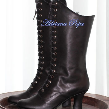 Halloween Boots Black Leather Victorian Style Heeled Black Boots Ankle boots Order your Customized boots