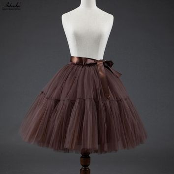 Aohaolee Fashion Tulle Skirt Midi Tutu Skirts Bubble Skirt Vintage Women Lolita Petticoat Party Prom Skirt Falda Mujer Saia Jupe