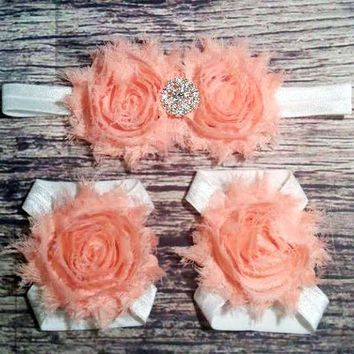 Peach and White Rhinestone Headband and Barefoot Sandals Set