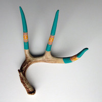 Green Southwestern Pattern Antler by MadeByCassandraSmith on Etsy