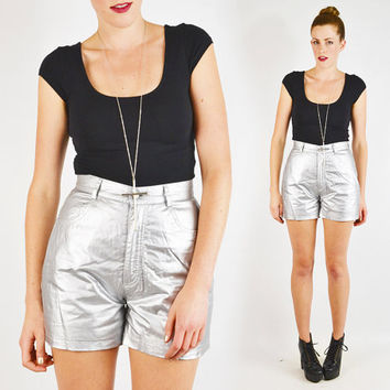 vintage 90s shiny METALLIC SILVER shorts / 90s high waist shorts / 90s high waisted shorts / 90s grunge shorts / 90s club kid shorts / s