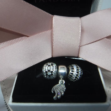 Pandora Charms Sparkling Black and Clear CZ Three Charm Starter Gift Set Authentic Pandora