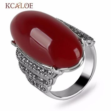 KCALOE Antique Big Red Onyx Stone Rings For Women Vintage Retro Jewelry Silver Color Marcasite Statement Ring Bague Argent