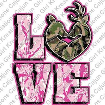 Love Pink Camo Hunting Deer Couple Printable Digital Iron On Transfer Clip Art DIY Tshirts Instant Download