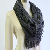 A Waffleknit Infinity Scarf in Charcoal
