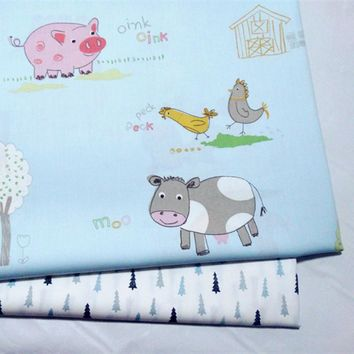 half meter reactive A grade infant baby pure cotton brocade bedding garment handmade DIY fabric with farm animal tree print A472