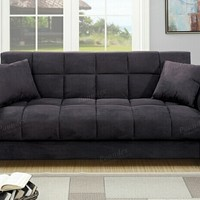 Jasmine collection ebony microfiber fabric upholstered adjustable storage sofa futon