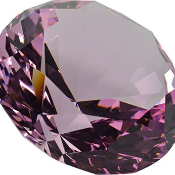 "Diamond Paperweight Crystal 3"" Wide Engravable Solid Color Glass High Quality 80mm Pink"
